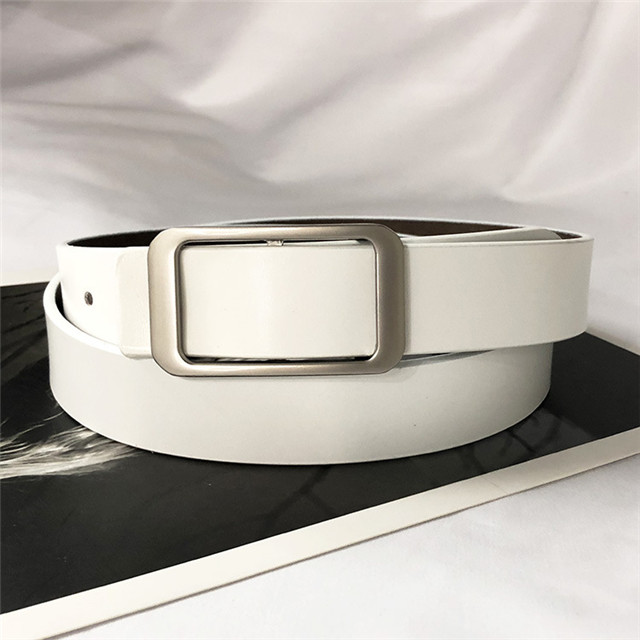 New Smooth Buckle Men And Women's Belt Korean Version of Commuter Pure Leather Simple Buckle with Jeans Belt