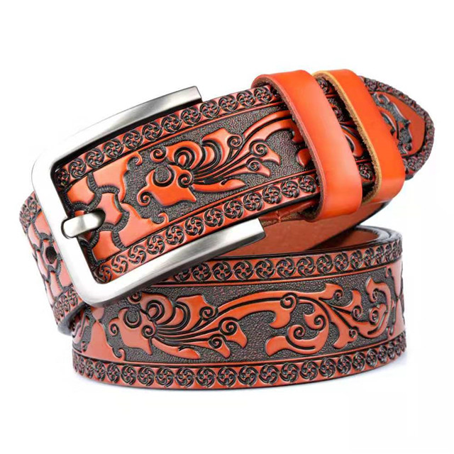 Designed for High-end Carved Craft Leather Men's Belt Fashion Personality Jeans Belt Pure Leather