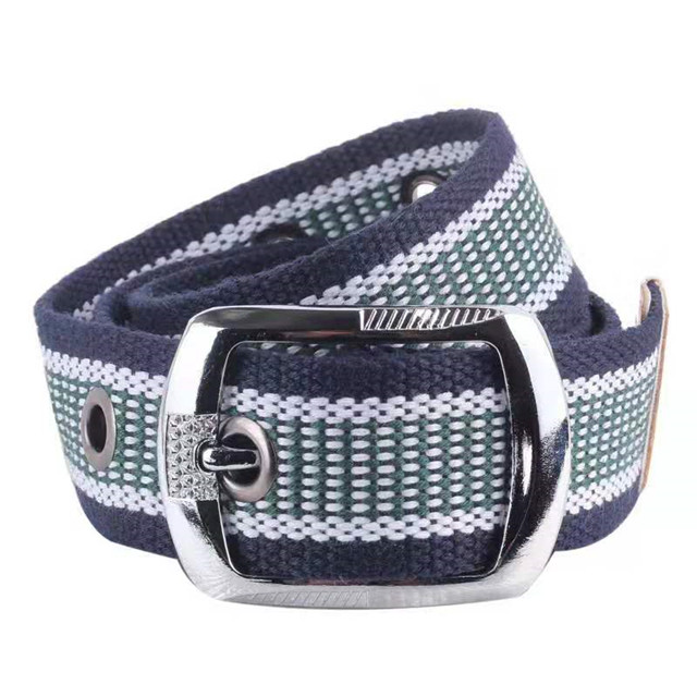 High Quality Alloy Buckle Material Fashionable Canvas Stripe Men Belts