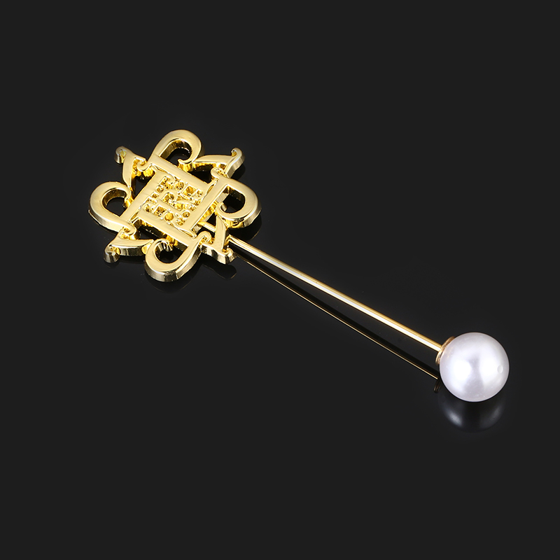 Double Heart Fashion Custom Gold Plating Brooch Metal Alloy Lady Pearl Pin Brooch