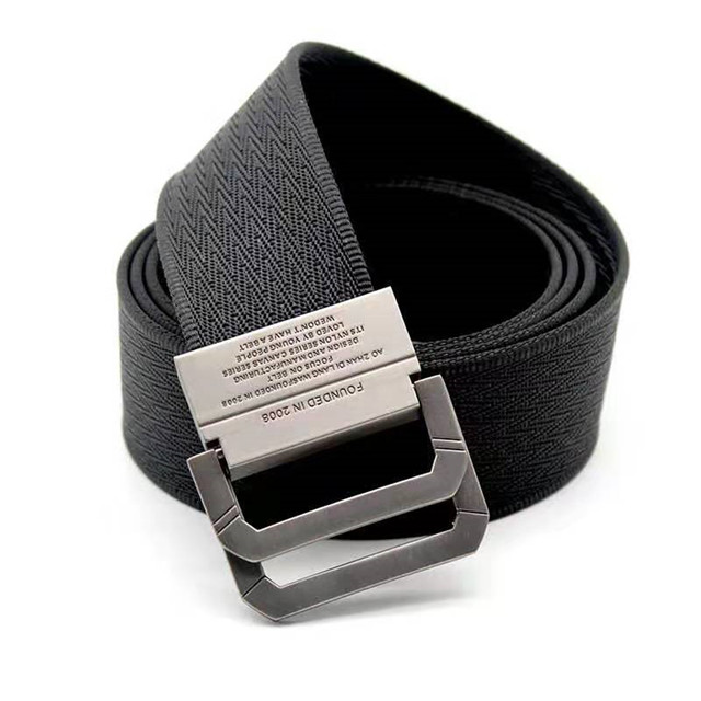 Custom Fashion Accessories Double Ring Men's Fabric Canvas Belt