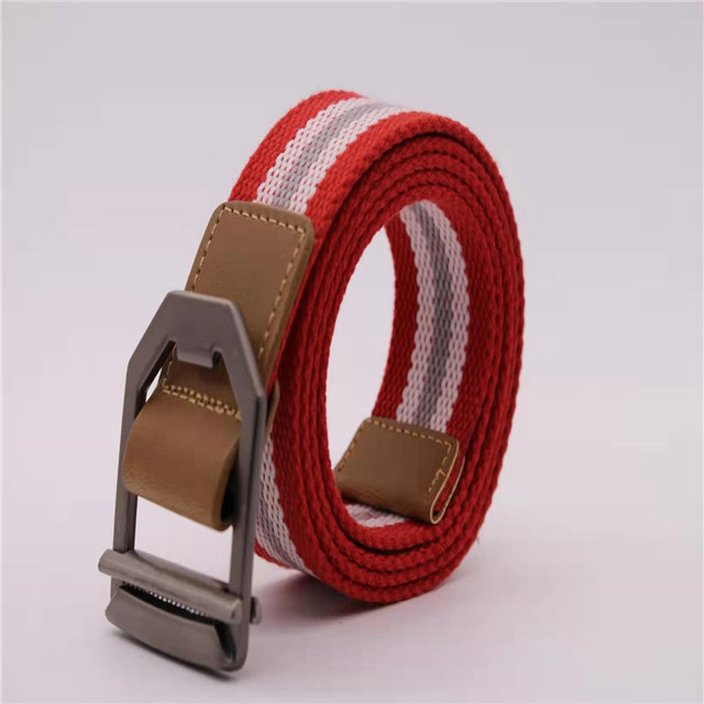 Mens Women Silver Metal Buckle Canvas Waistband Strap Belt Casual Waist Belt